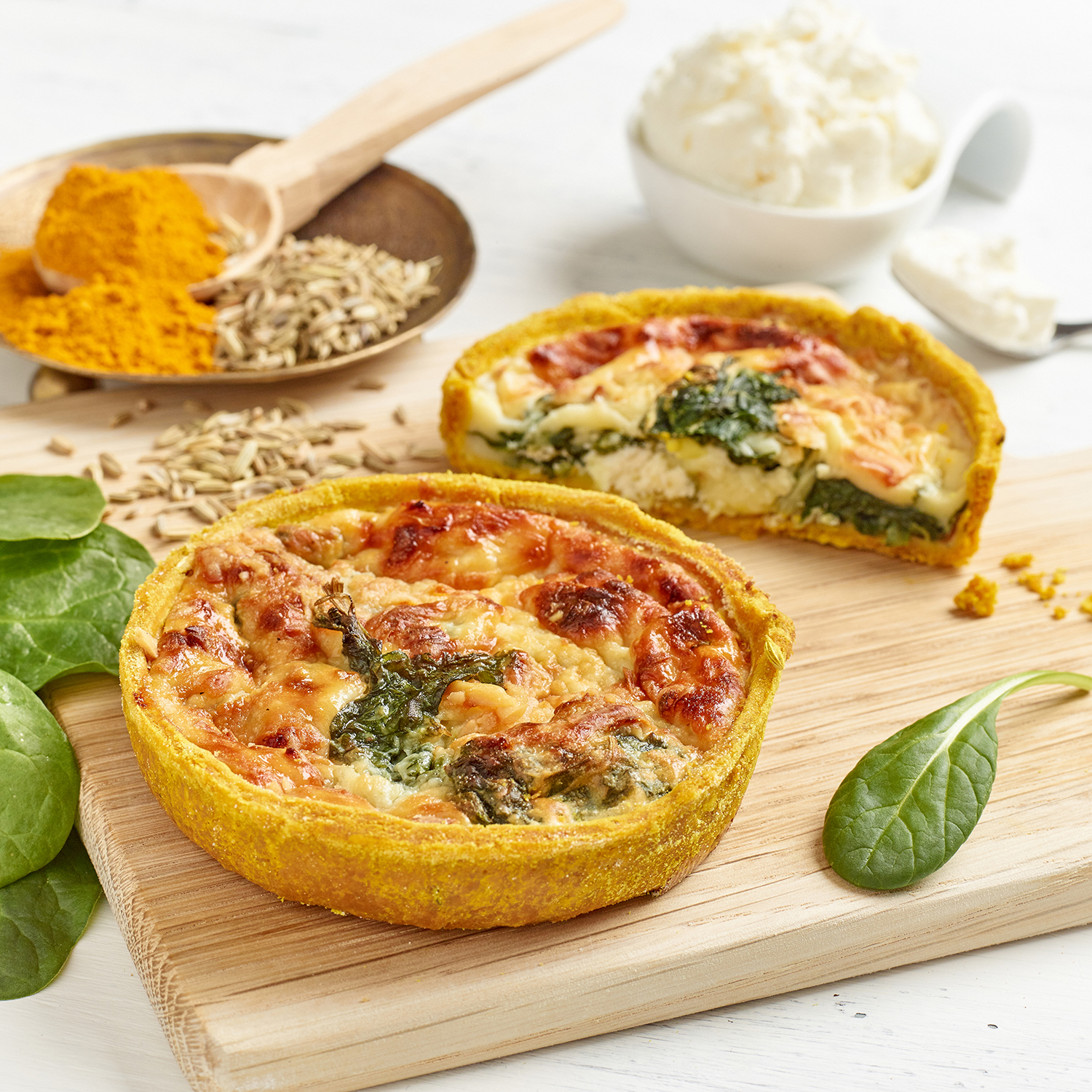 Spinach & Ricotta Quiche in a Turmeric & Fennel Crust